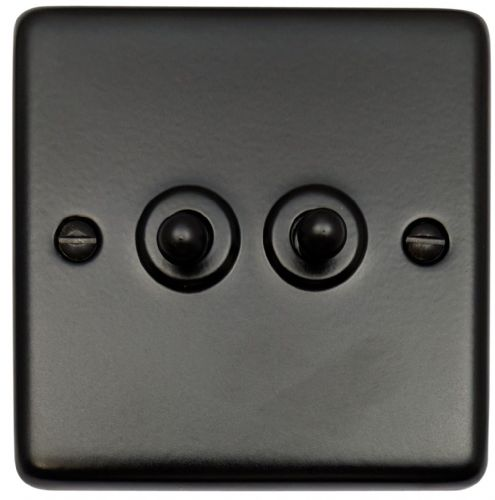 G&H CFB282 Standard Plate Matt Black 2 Gang 1 or 2 Way Toggle Light Switch